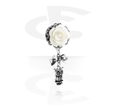 Tunnels & Plugs, Tunnel with flower attachment and owl pendant, Surgical Steel 316L