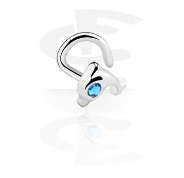Piercings Nariz, Piercing para la nariz con Diseño delfín, Acero quirúrgico 316L, Latón plateado