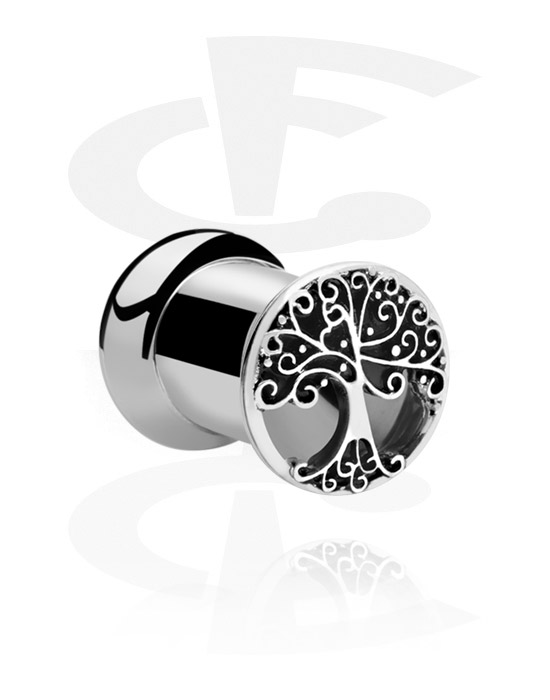 Tunnels & Plugs, Double Flared Tunnel with Tree Design, Surgical Steel 316L