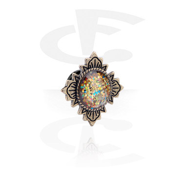 Tunnels & Plugs, Vintage Tunnel with Flower Design and glitter, Surgical Steel 316L