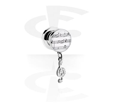 Tunnels & Plugs, Tunnel with Musical Note Design, Surgical Steel 316L