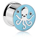 Tunnels & Plugs, Double Flared Tunnel with Octopus Design, Surgical Steel 316L