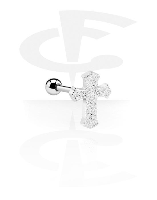 Helix / Tragus, Tragus Piercing s cross design, Chirurgická ocel 316L