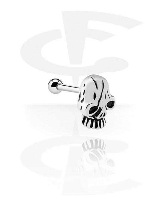 Helix / Tragus, Tragus Piercing s skull attachment, Chirurgická ocel 316L