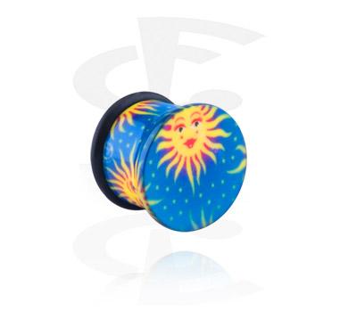 Single Flared Plug с with sun and star design
