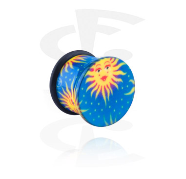 Single Flared Plug with with sun and star design