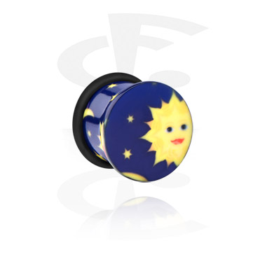 Single Flared Plug with sun and stars