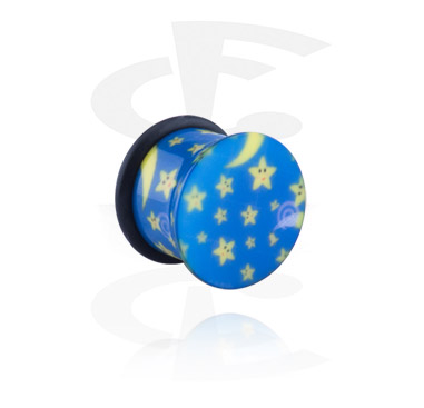 Single Flared Plug with sun and stars
