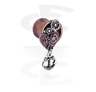 Double Flared Plug with Steampunk Design and anchor pendant