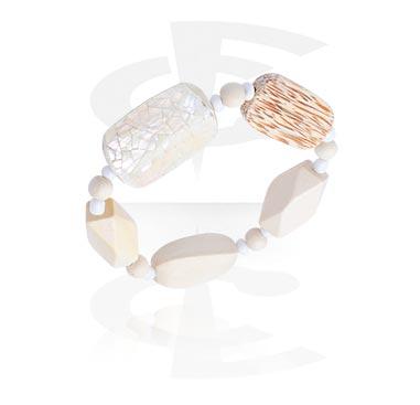 Armband, Modearmband, Blandade träsorter, Snäckskal, Gummiband