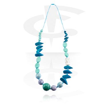 Halsband, Modehalsband, Blandade träsorter, Snäckskal, Konstgjorda pärlor, Vaxtråd
