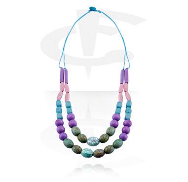 Halsband, Modehalsband, Blandade träsorter, Kokosskal, Vaxtråd