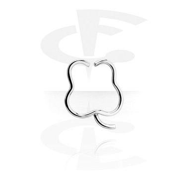 Кольцо для пирсинга в форме клевера