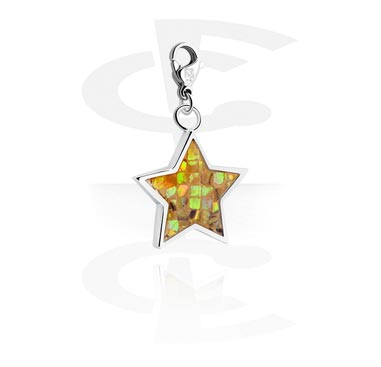 Charms, Charm with star design, Surgical Steel 316L, Plated Brass
