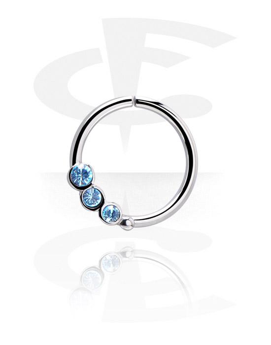 Piercingringen, Continuous ring met kristalsteentjes, Chirurgisch staal 316L