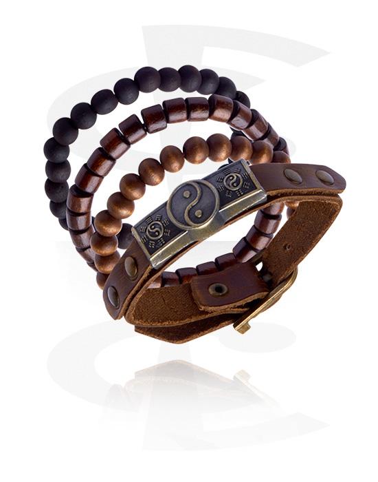 Náramky, Fashion Bracelet, Kůže, Slitina zinku, Dřevo