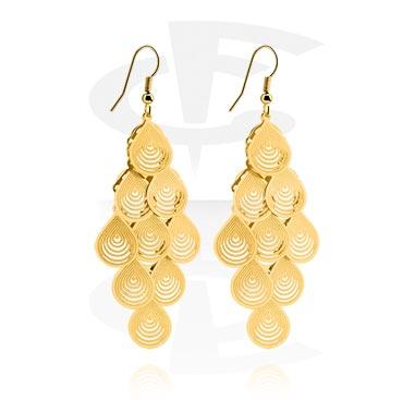 Kolczyki, Earrings, Gold Plated Brass