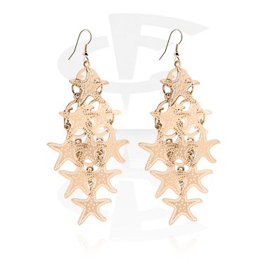 Náušnice, Earrings, Plated Brass, Rosegold Plated Brass