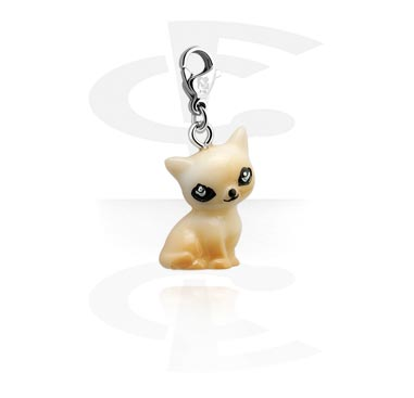 Charms, Charm with Cat Design, Surgical Steel 316L, Acrylic