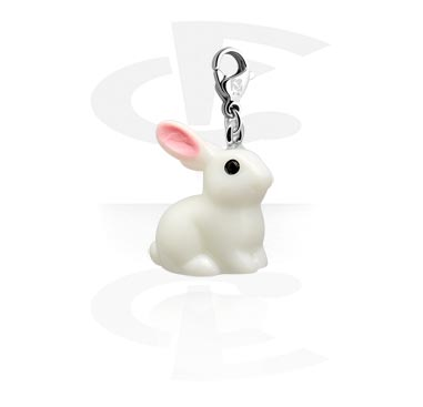 Charms, Charm with Rabbit Design, Surgical Steel 316L, Acrylic