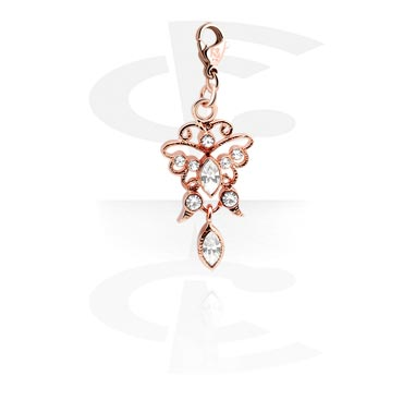 Charm with Butterfly Design and Crystal Stones
