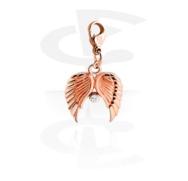 Charm with wing design and Crystal Stone