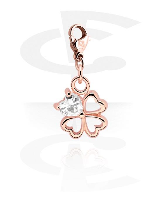 Bransolety z zawieszkami, Charm z Clover Leaf Design i crystal stone, Stal chirurgiczna powlekana różowym złotem 316L, Powlekany mosiądz