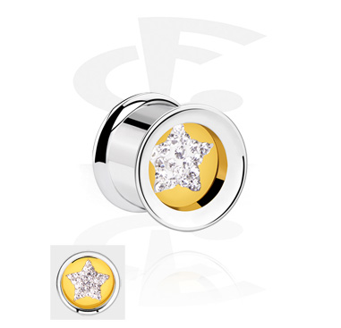 Tunnels & Plugs, Double Flared Tunnel with star design, Surgical Steel 316L