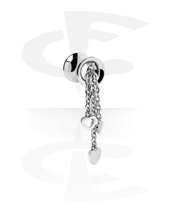Tunnels & Plugs, Double Flared Tunnel met hartaccessoire en ketting, Chirurgisch staal 316L