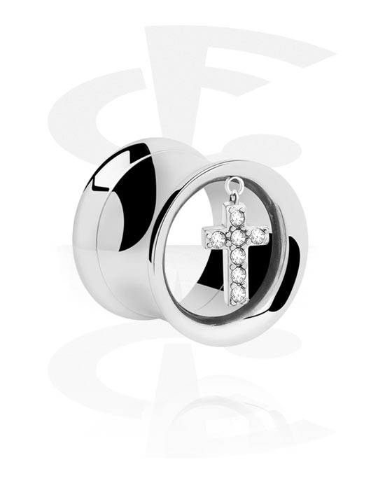 Tunnels & Plugs, Double Flared Tunnel with pendant, Surgical Steel 316L