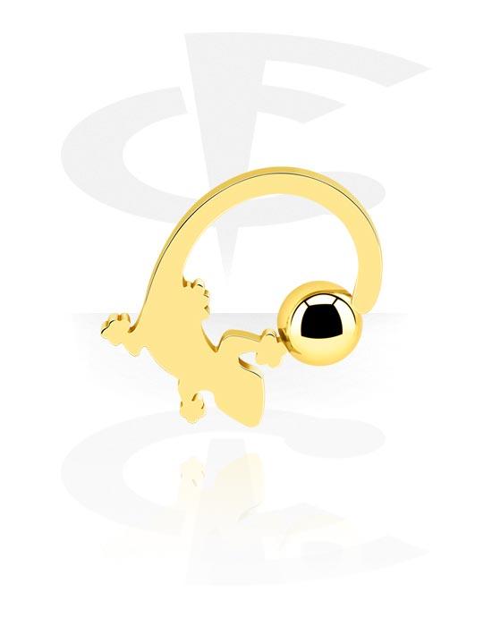 Alke za piercing, Ball closure ring, Pozlaćeni kirurški čelik 316L