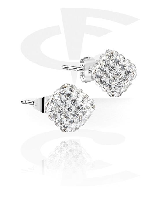 Náušnice, Ear Studs s crystal stones, Chirurgická ocel 316L