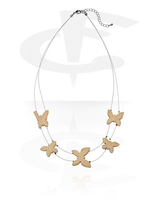 Halsketten, Modische Halskette, Holz, Gummiband