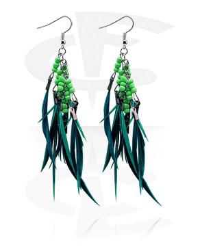 Boucles d'oreilles avec pendentif de plumes