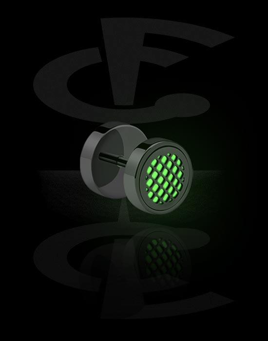Imitacja biżuterii do piercingu, Glow in the Dark Fake Plug, Surgical Steel 316L