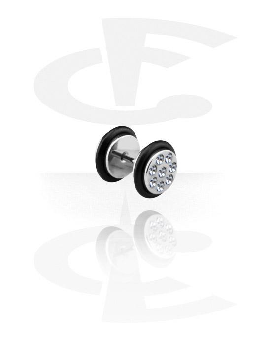 Falešné piercingové šperky, Falešný plug zdobený kamínky, Surgical Steel 316L