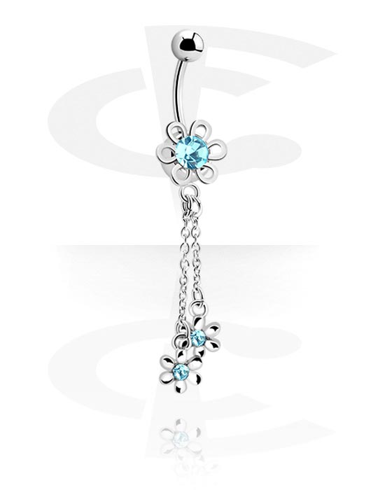 Banany, Banana with Flower Charm<br/>[Surgical Steel 316L], Surgical Steel 316L