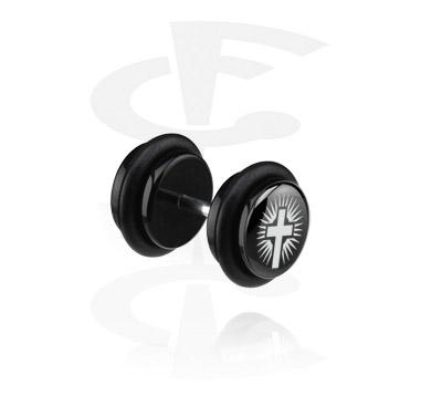 Faux Piercings, Black X-MAS Fake Plug, Acryl