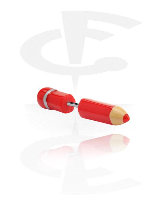Imitacja biżuterii do piercingu, Fake plug, Akryl, Stal chirurgiczna 316L