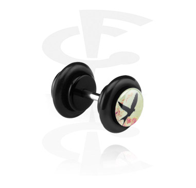 Fake Piercings, Black Fake Plug, Acrylic ,  Surgical Steel 316L
