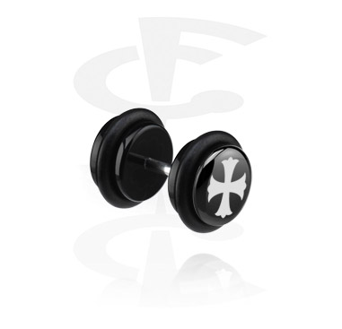 Faux Piercings, Black Fake Plug, Acryl