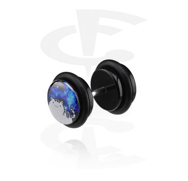 Glitter faux plug noir