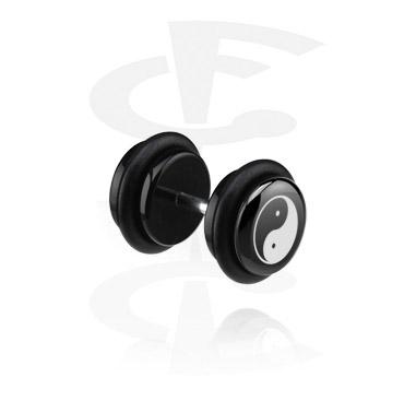 Feikkikorut, Black Fake Plug kanssa Yin-Yang Design, Acrylic, Surgical Steel 316L