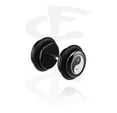 Fake Piercings, Black Fake Plug with Yin-Yang Design, Acrylic, Surgical Steel 316L