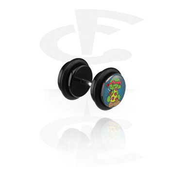 Fake Piercings, Black Fake Plug with Crapwaer Design, Acrylic ,  Surgical Steel 316L