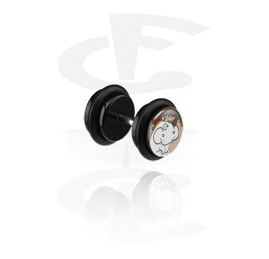 Fake Piercings, Black Fake Plug with Crapwaer Design, Acrylic ,  Surgical Steel 316L