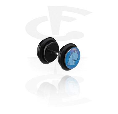 Fake Piercing, Fake plug nero, Acrilico