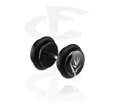 Fake Piercing, Black Fake Plug (Left Ear), Acryl