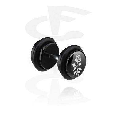 Faux Piercings, Black Fake Plug (Left Ear), Acryl
