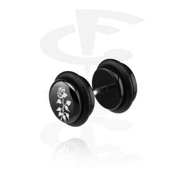 Fake Piercings, Black Fake Plug (Right Ear), Acryl